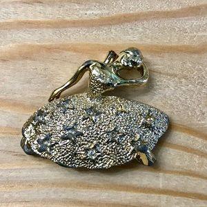 Vintage gold Ballerina costume brooch pin